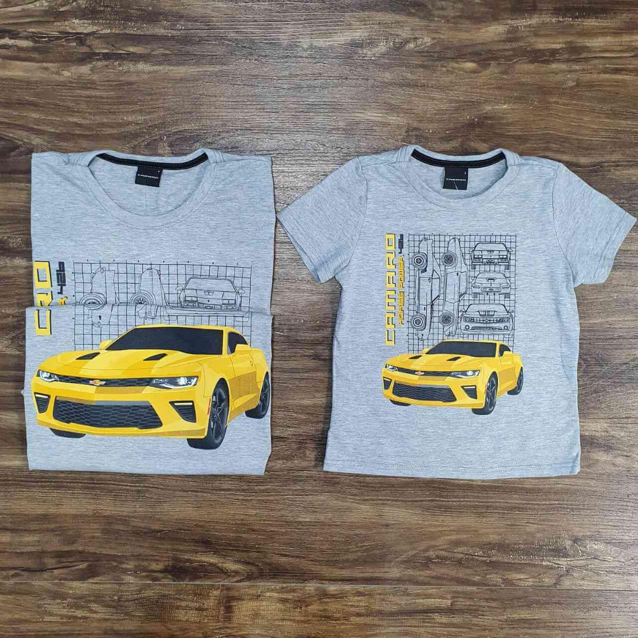 Camisetas Cinza Camaro Pai e Filho (a)