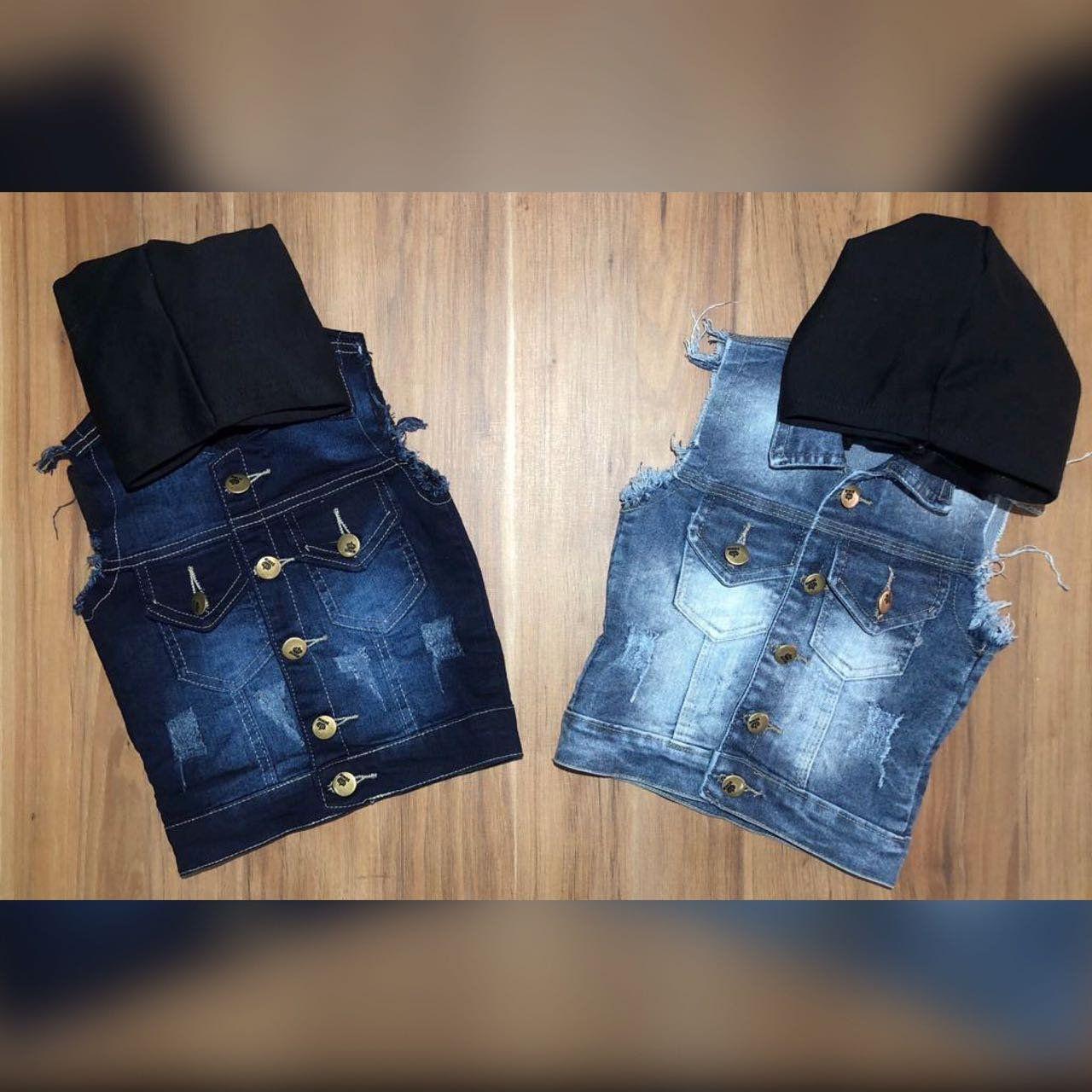 Colete Jeans com Capuz Removível
