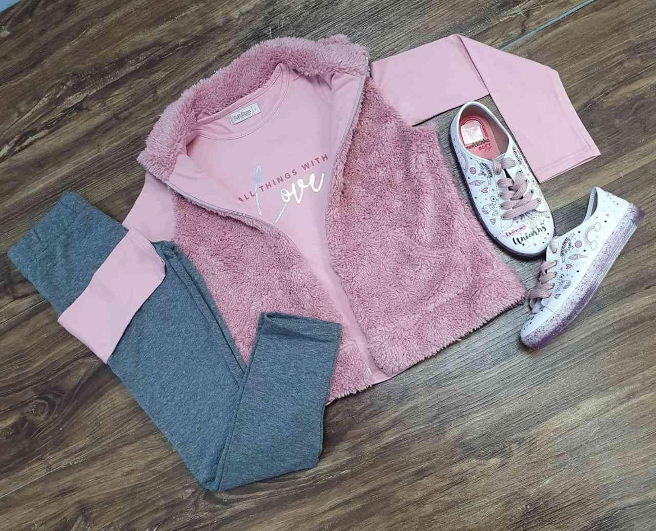 Colete mais Blusa com Calça Infantil