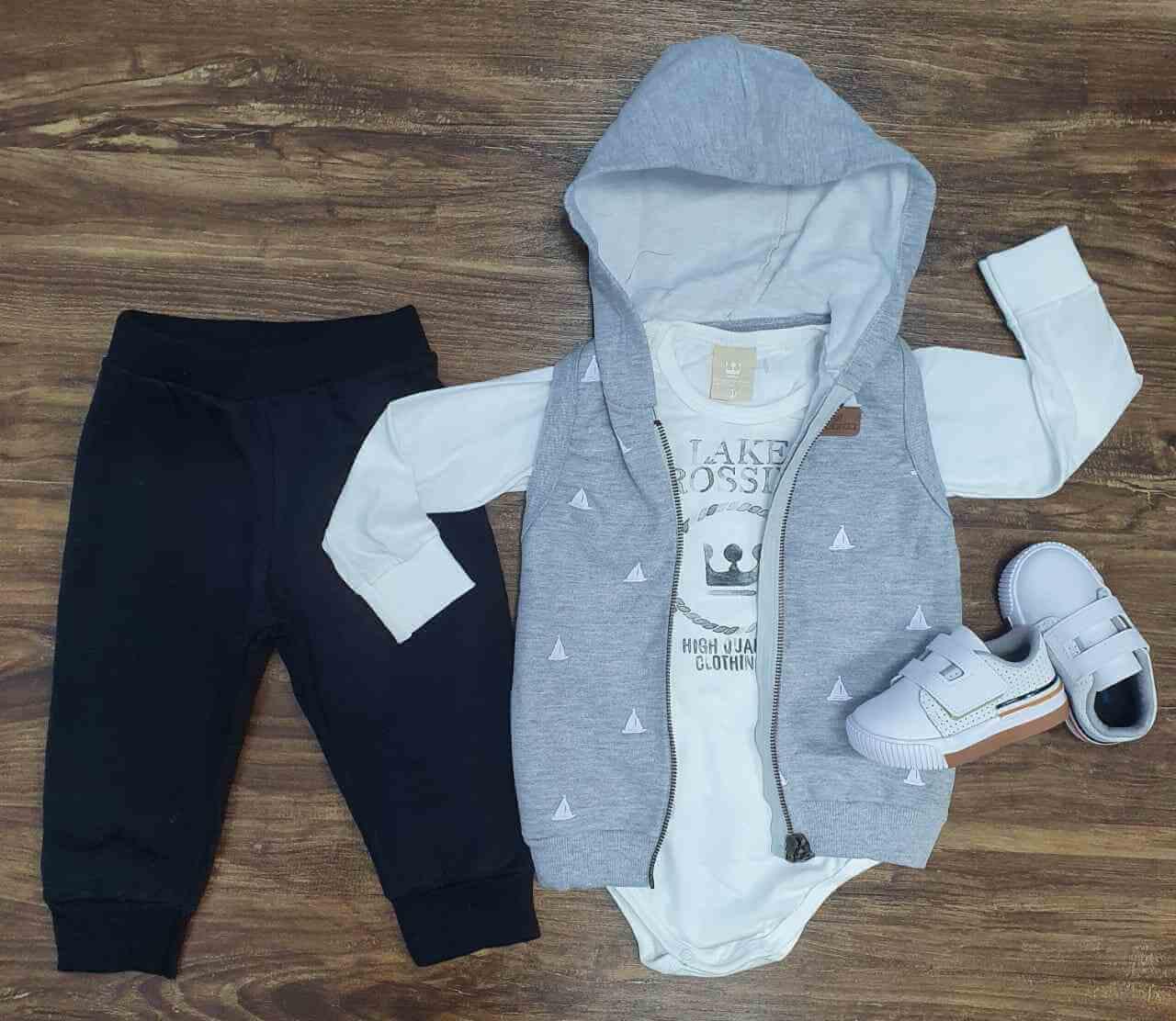 Colete mais Body com Calça Infantil