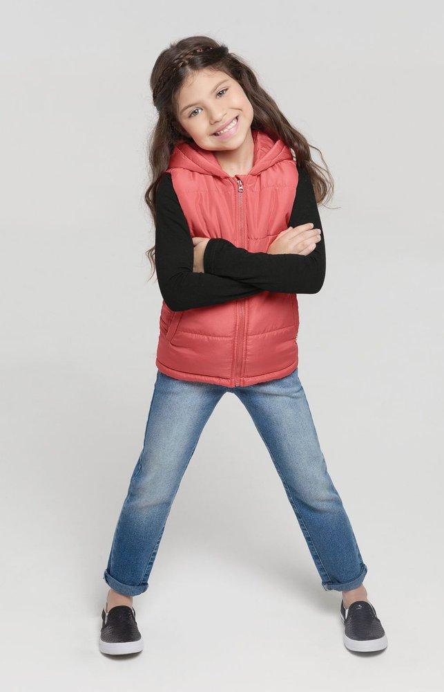 Colete Infantil Rosa Com Capuz