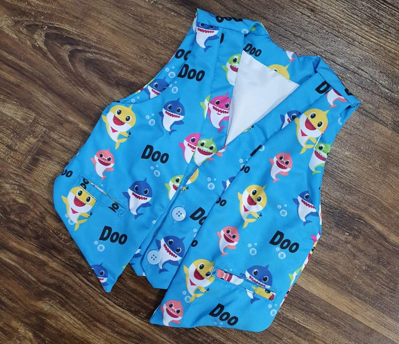 Conjunto Colete Baby Shark Azul Infantil