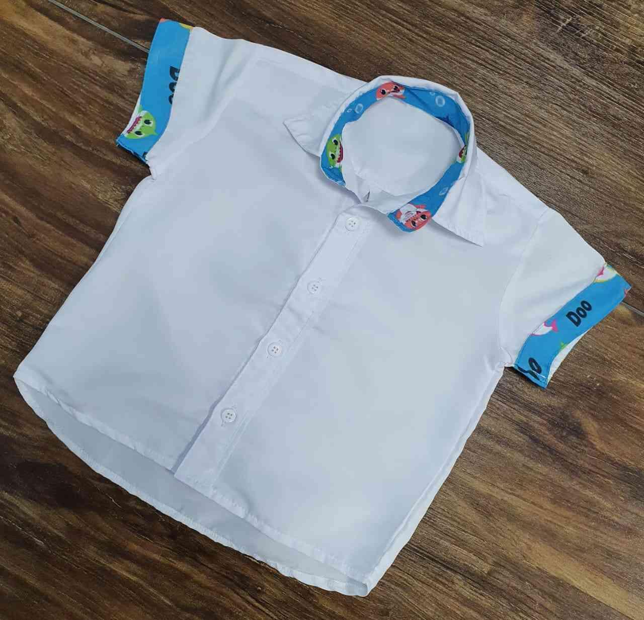 Conjunto Suspensório Baby Shark Branco Infantil