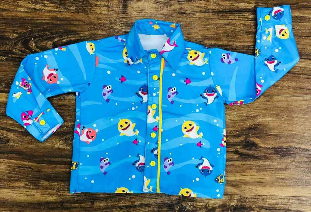 Conjunto Baby Shark Suspensório Amarelo Infantil