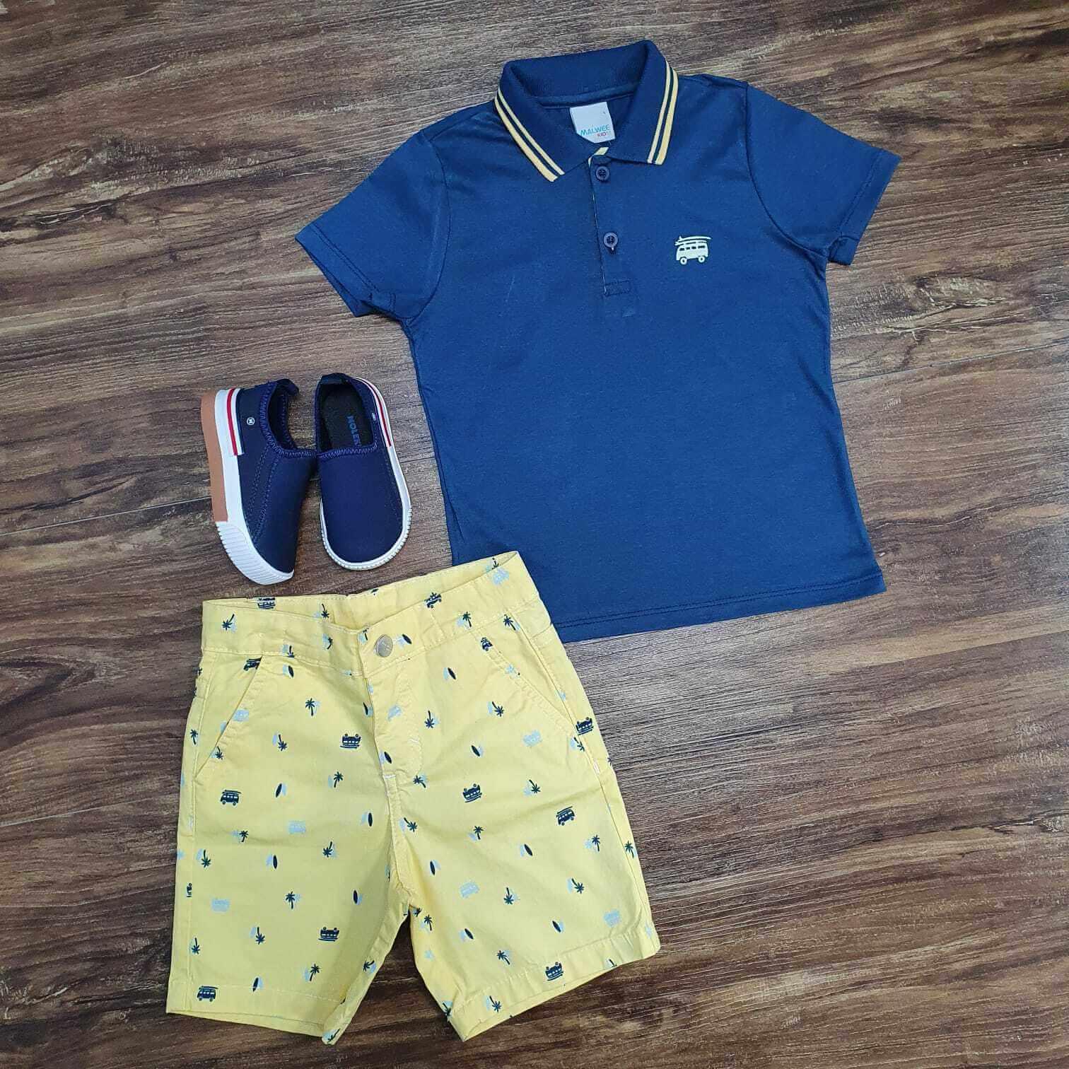 Conjunto Bermuda Amarela com Camisa Polo Azul Infantil