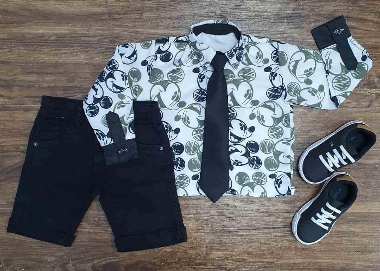 Conjunto Bermuda Mickey Opaca Gravata Infantil