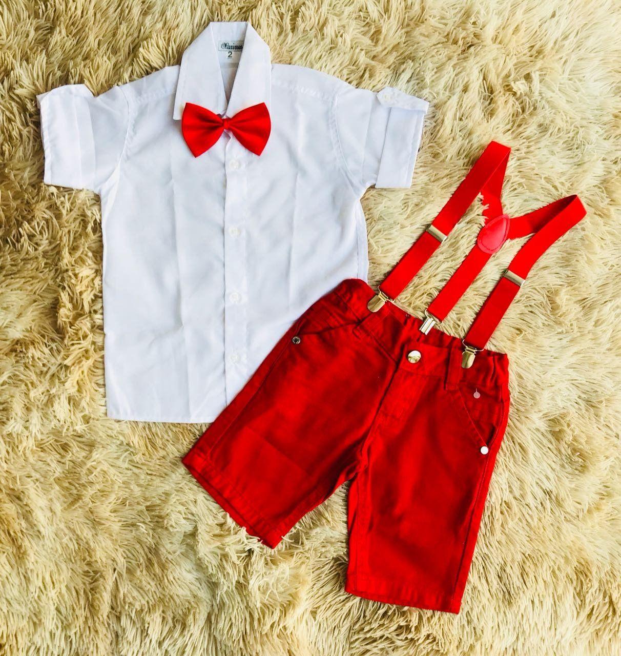 Conjunto Bermuda Vermelha com Suspensório Vermelho e Camisa Branca com Gravata Vermelha