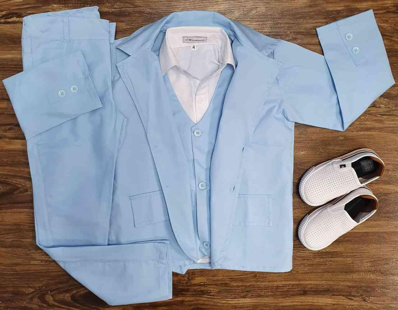 Conjunto Blazer com Camisa e Calça Azul Infantil