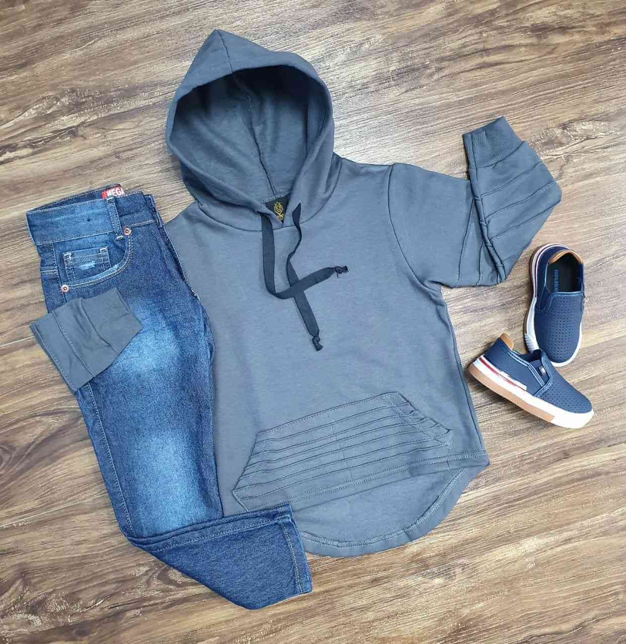 Conjunto Blusa Cinza com Calça Jeans Infantil