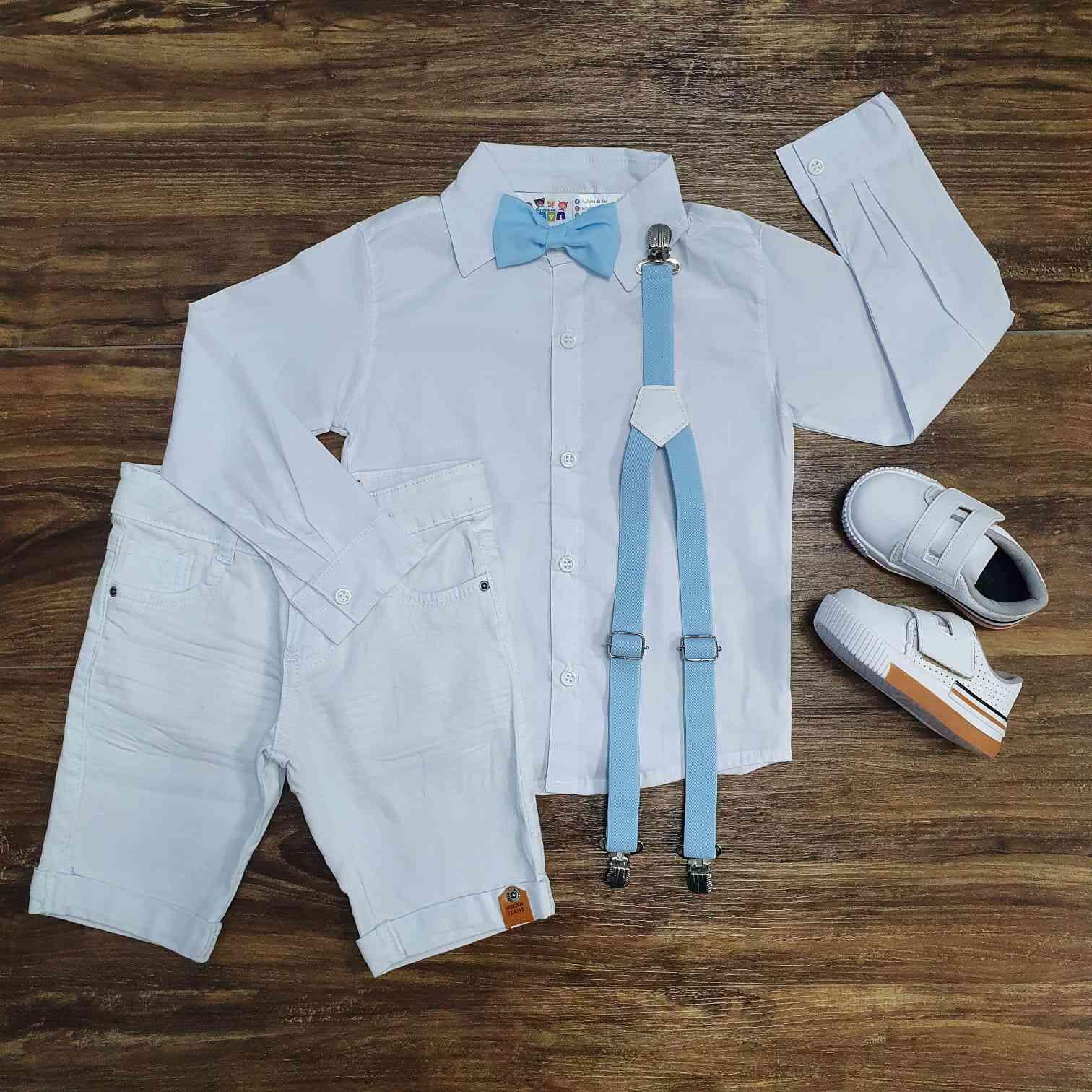 Conjunto Branco Bermuda Batizado Azul Infantil