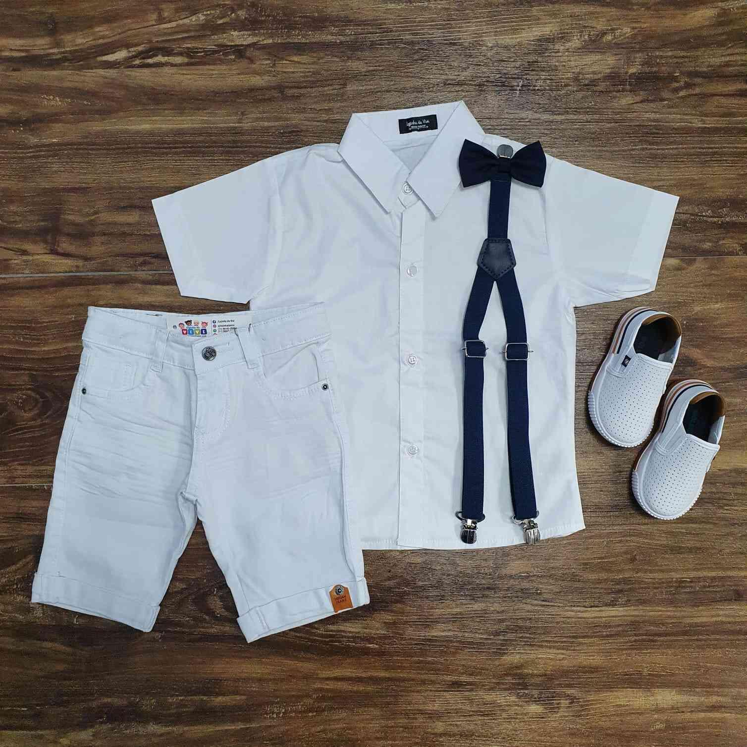 Conjunto Branco Bermuda Batizado Marinho Infantil