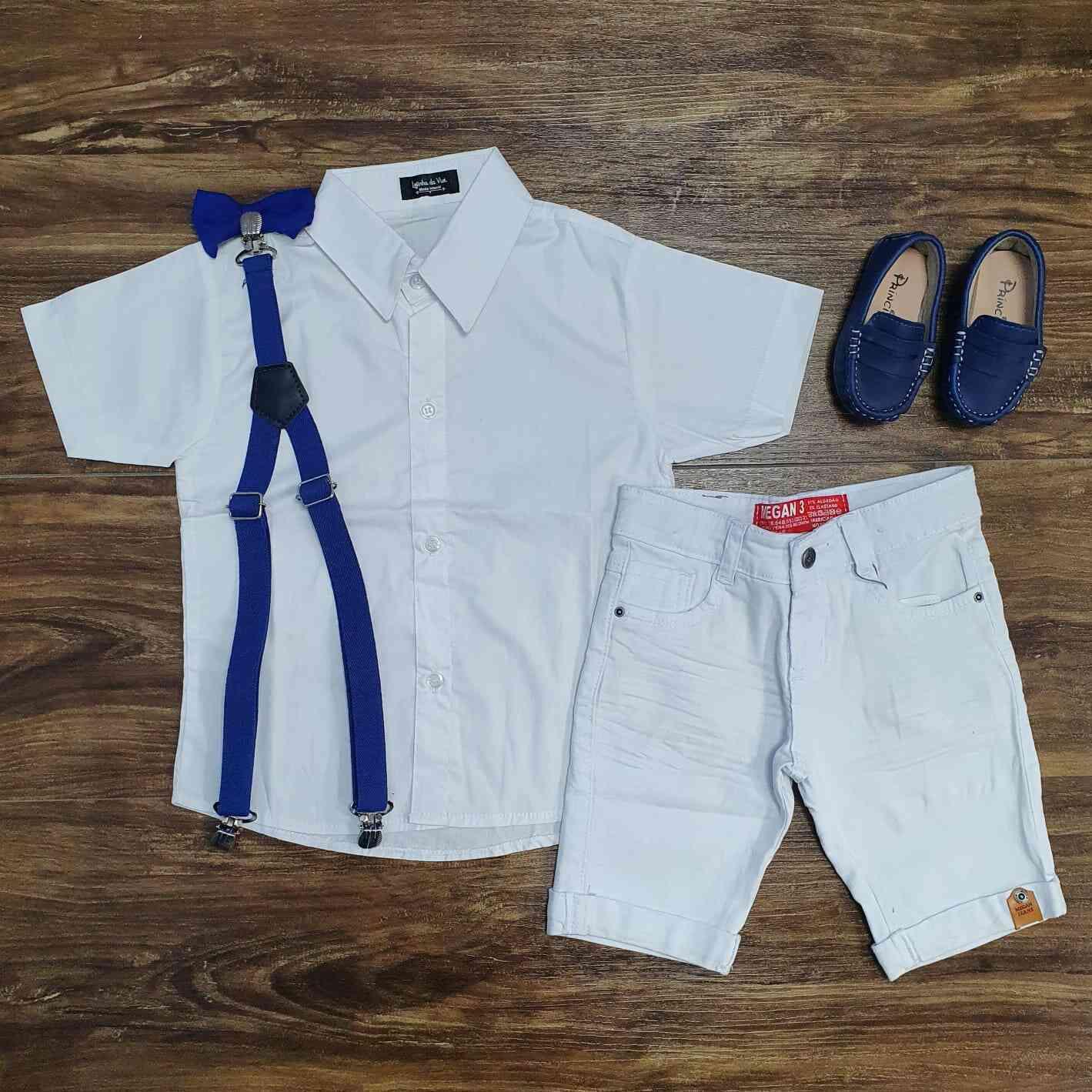 Conjunto Branco Bermuda Batizado Royal Infantil