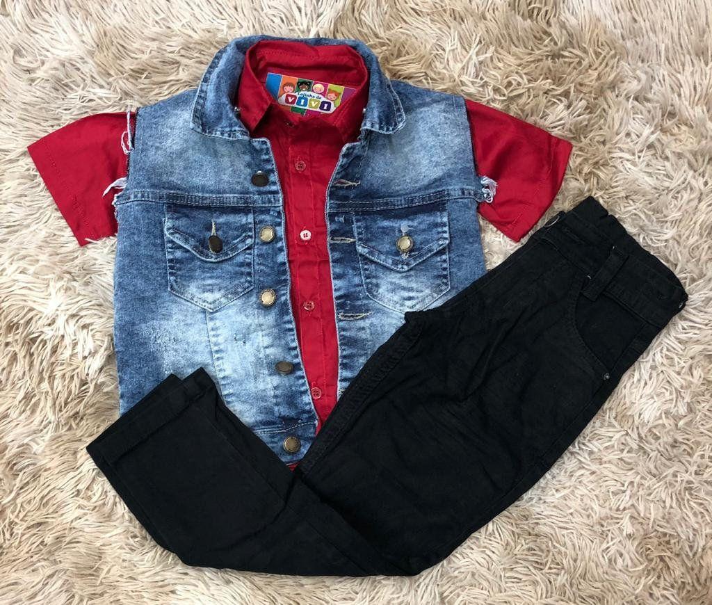 Conjunto Calça Jeans Preta com Camisa e Colete Jeans