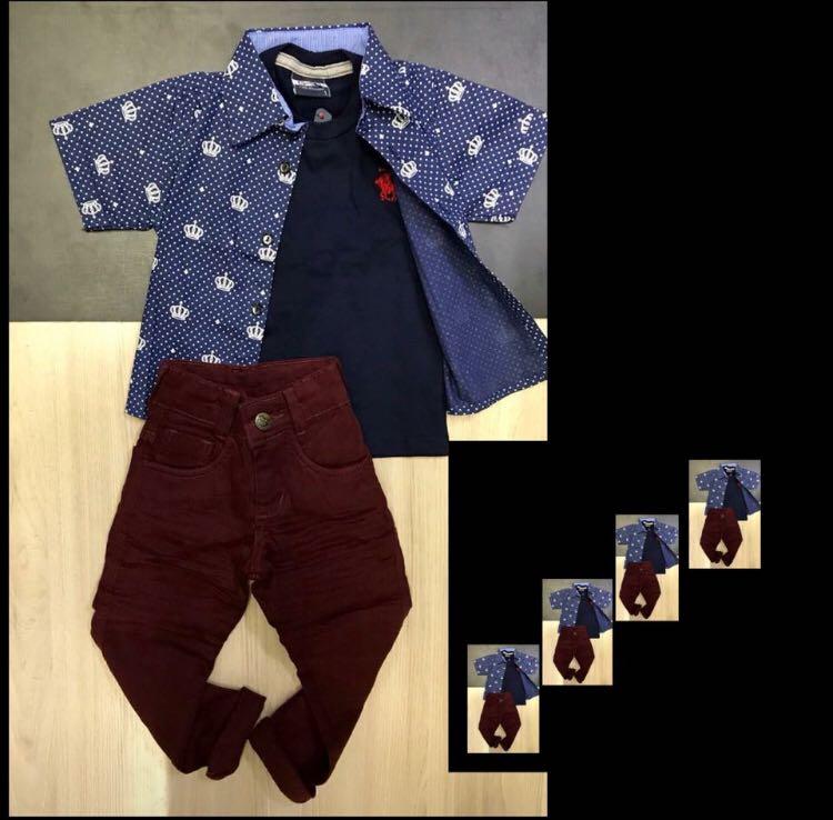 Conjunto Calça Jeans Vinho e Camiseta Azul Marinho com Camisa Manga Curta