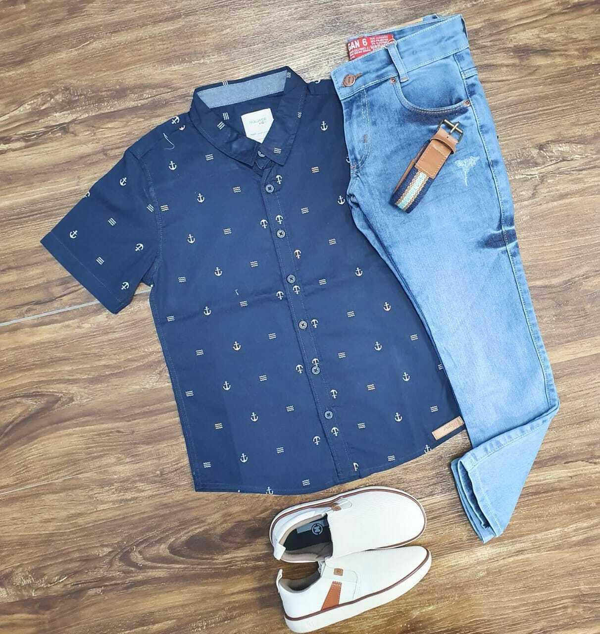 Conjunto Camisa Âncora com Calça Jeans Infantil
