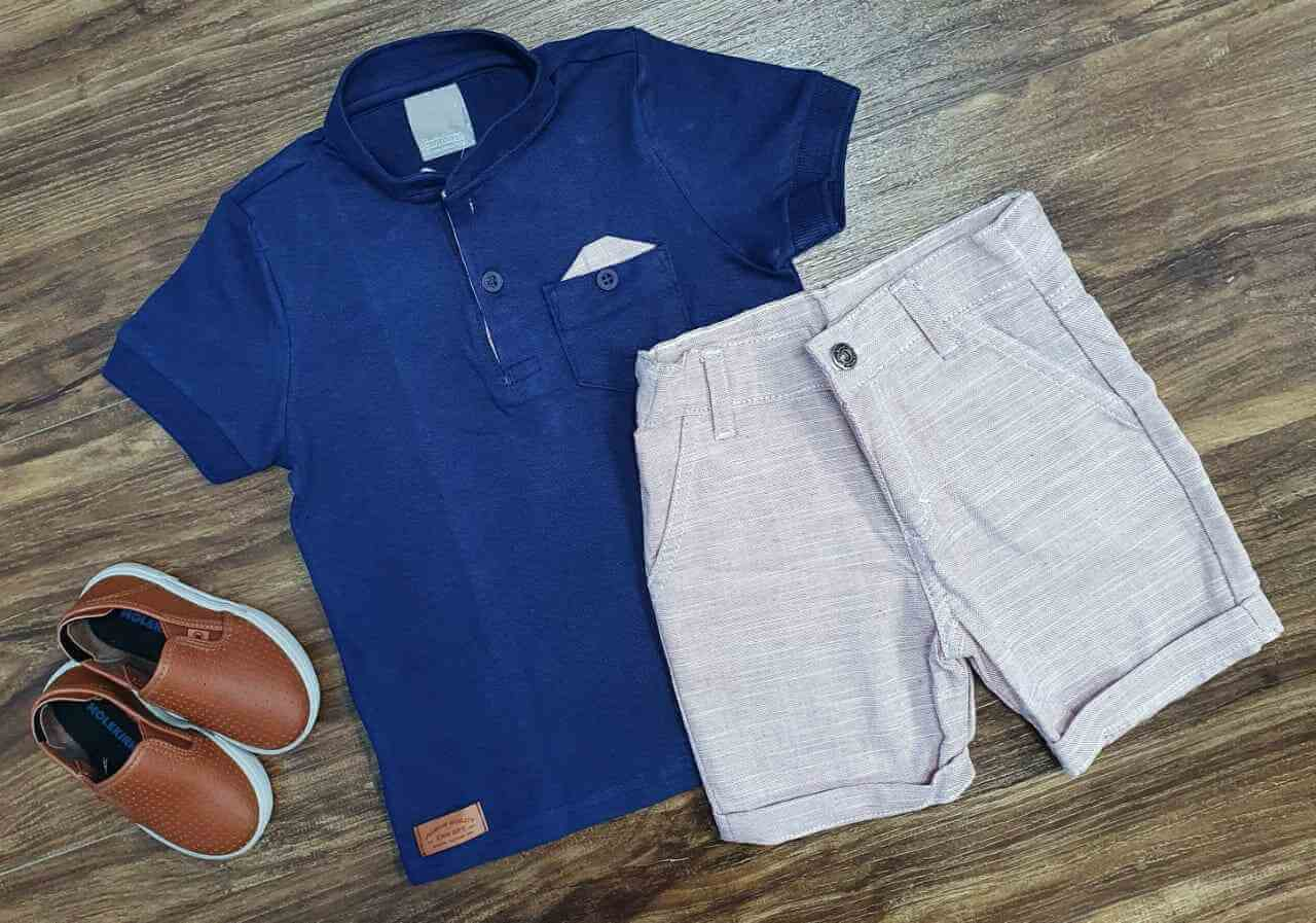 Conjunto Camisa Azul com Bermuda Infantil