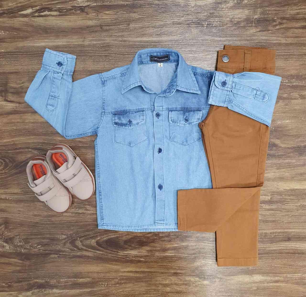 Conjunto Camisa Jeans Clara com Calça Infantil