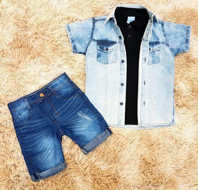 Conjunto Camisa Jeans com Bermuda Jeans e Camisa Polo Preta ca32b63631e7c