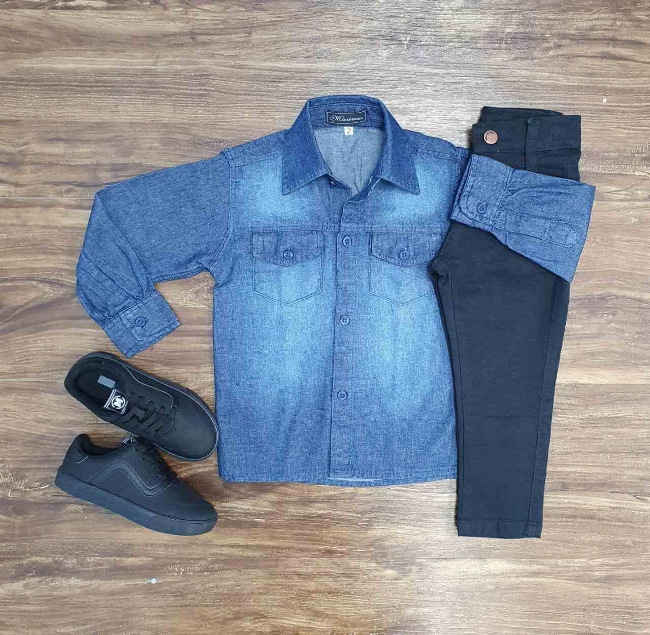 Conjunto Camisa Jeans com Calça Preta Infantil