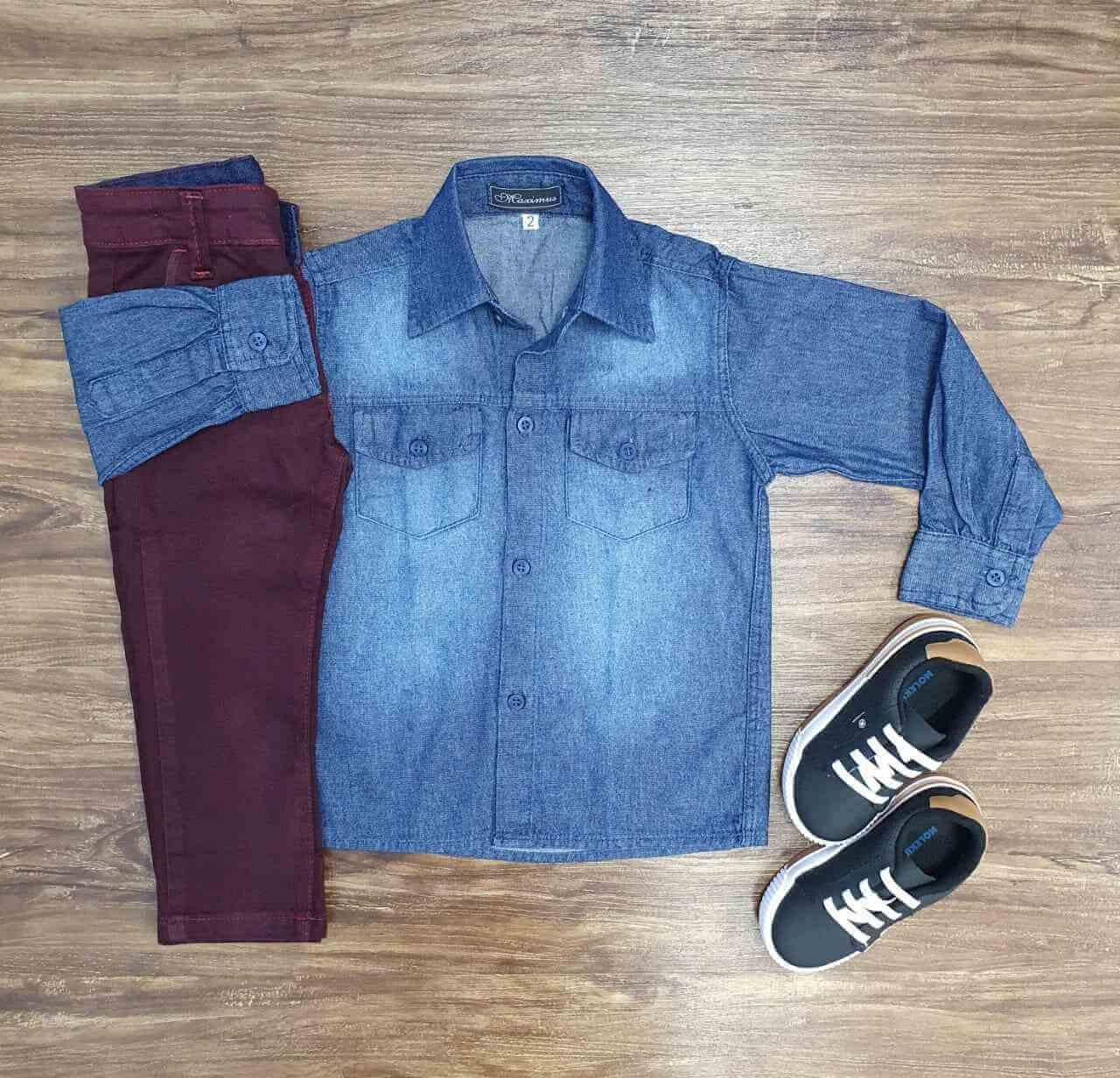 Conjunto Camisa Jeans com Calça Vinho Infantil