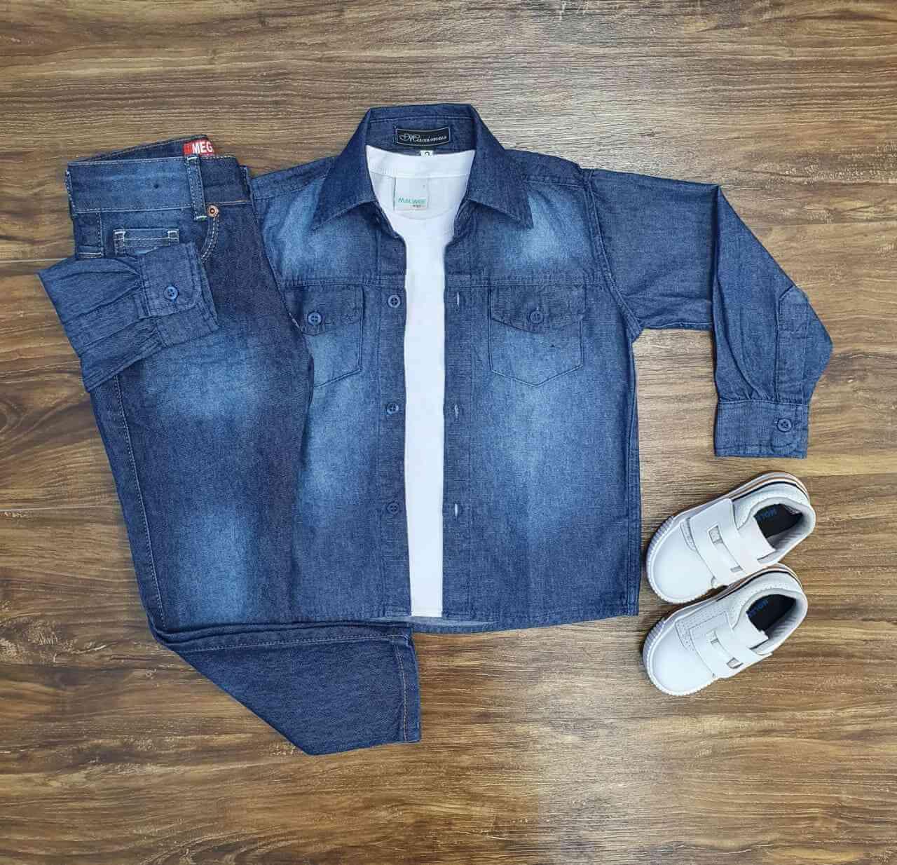 Conjunto Camisa Jeans mais Camiseta com Calça Infantil