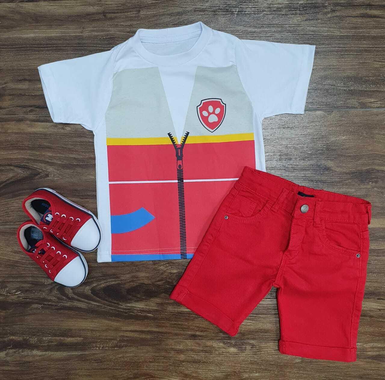 Conjunto Camiseta e Bermuda Vermelha Patrulha Canina Infantil