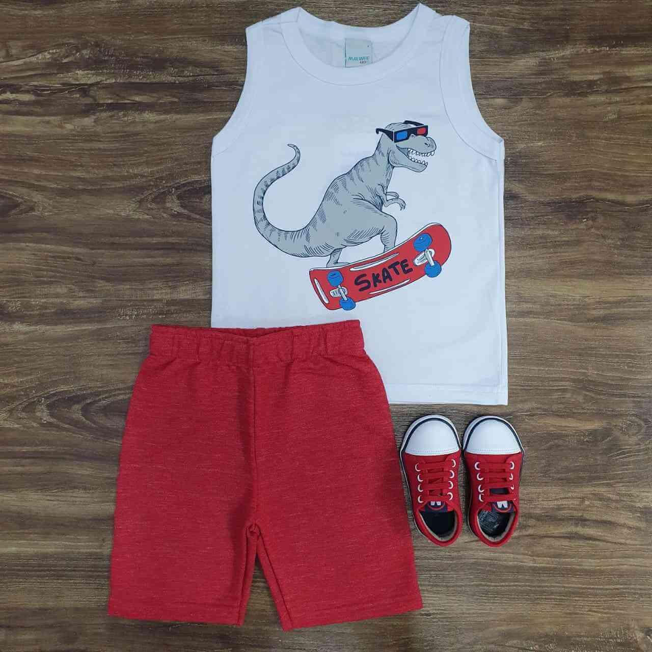 Conjunto Dinossauro Skate Infantil