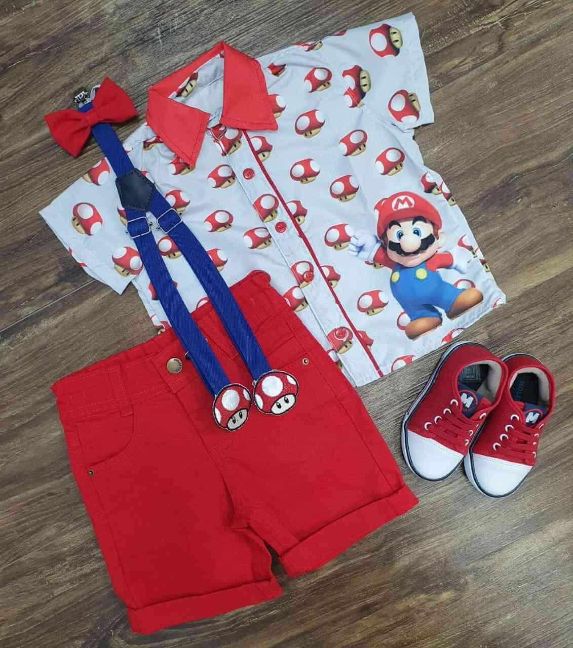 Conjunto Vermelho Mario Toad Infantil