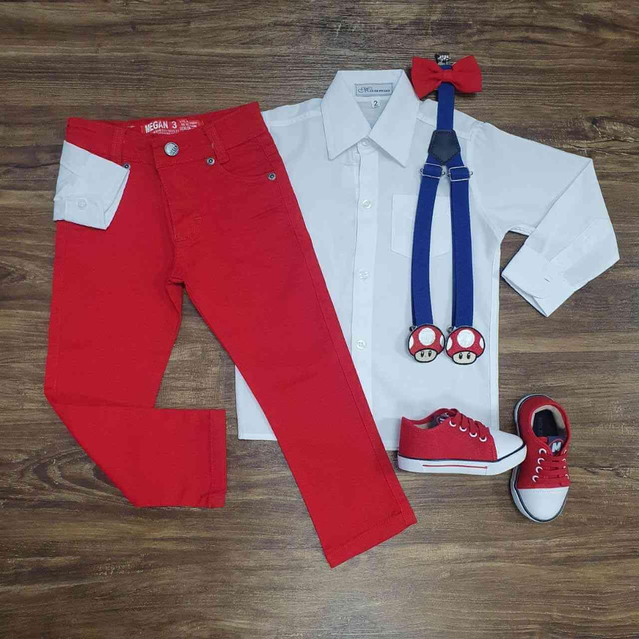 Conjunto Calça Mario Vermelho Infantil