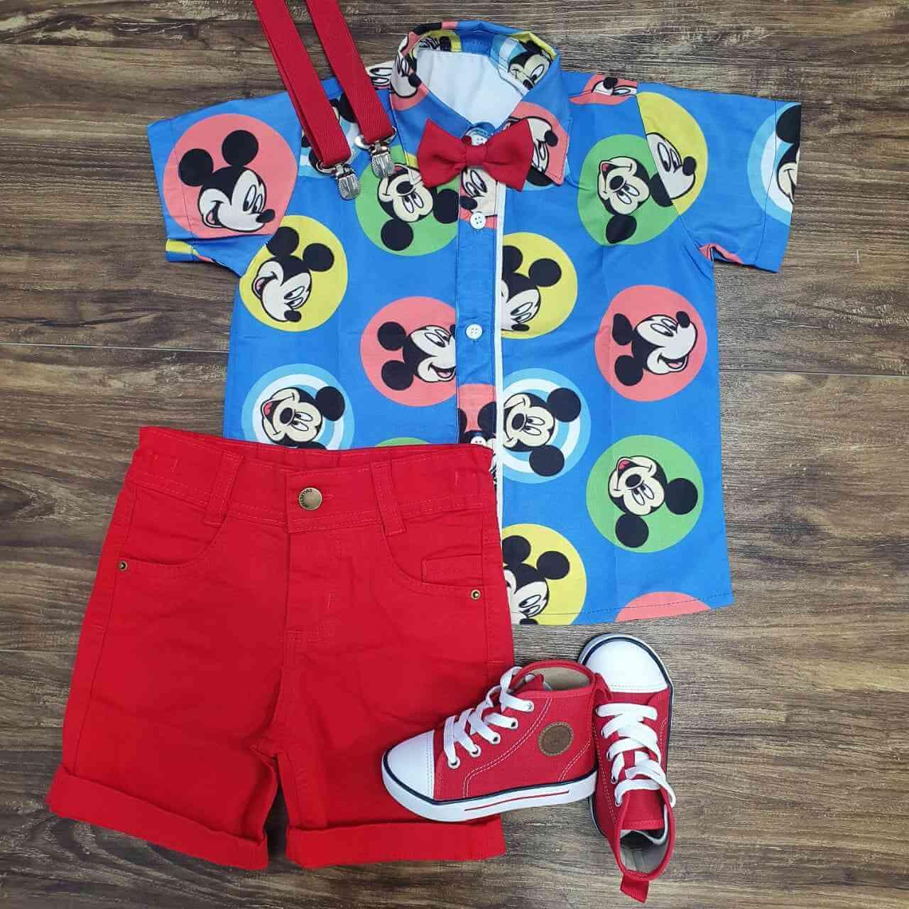 Conjunto Vermelho Mickey Colorida Infantil
