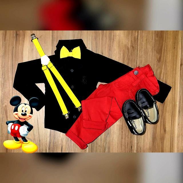 Conjunto Calça Mickey Vermelho e Preto Infantil
