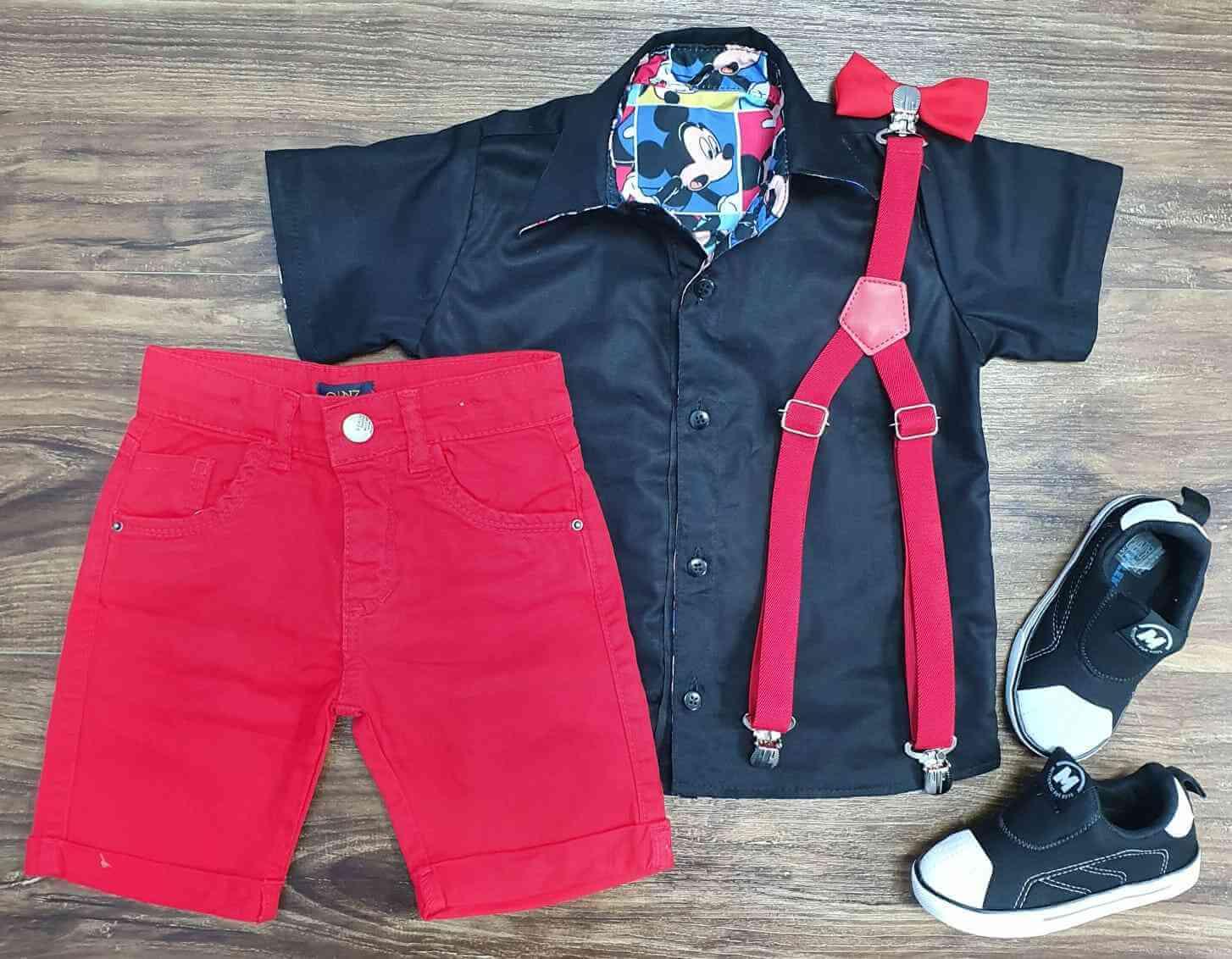 Conjunto Mickey Com Bermuda Vermelha Infantil