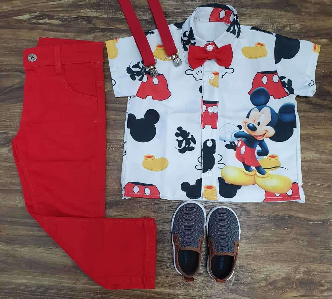 Conjunto Calça Mickey Clássico Vermelho Infantil