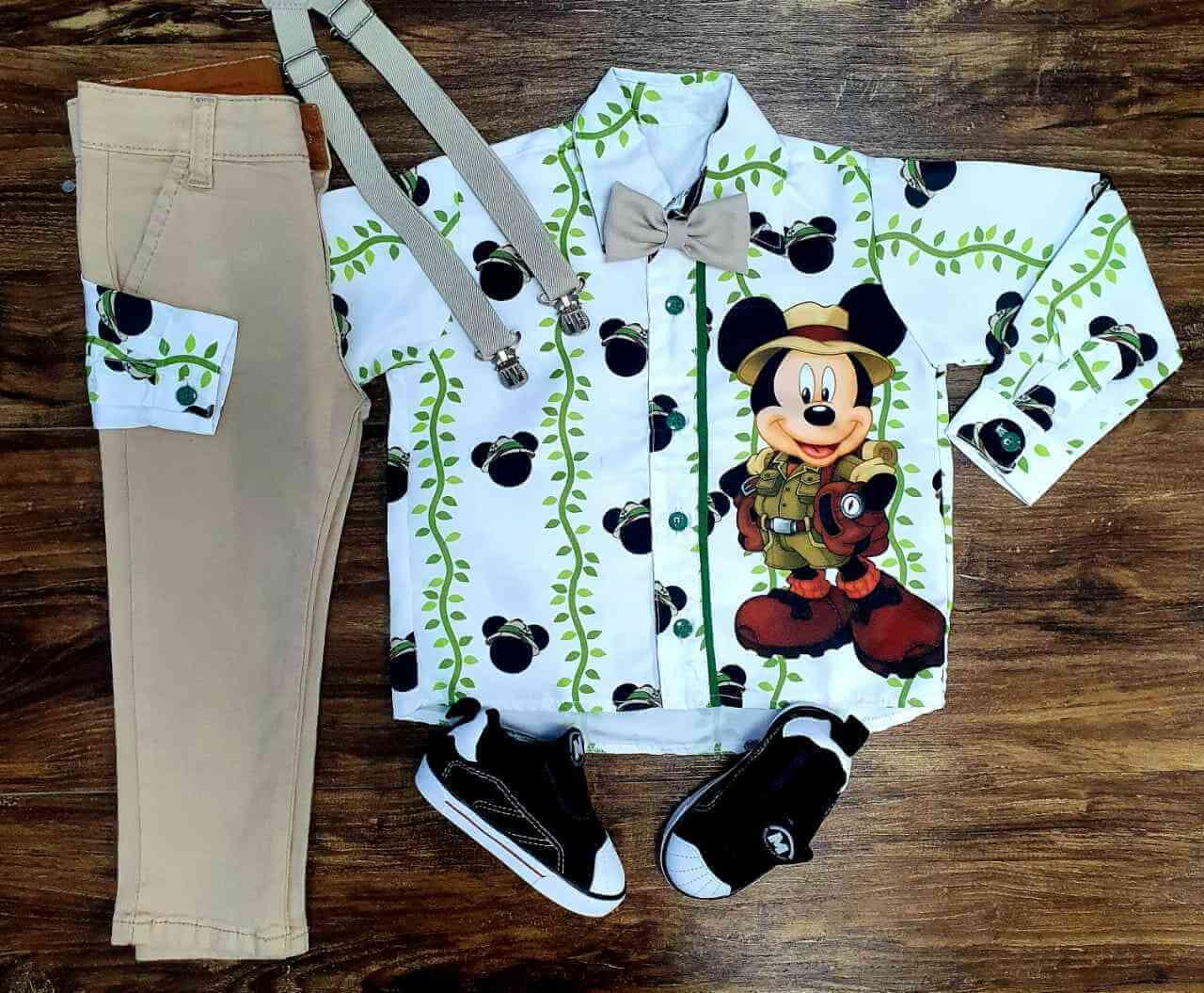 Conjunto Calça Nude Mickey Safari Branca Longa Infantil