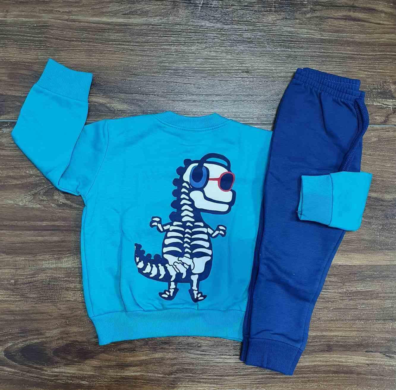 Conjunto Moletom Dino Azul Infantil