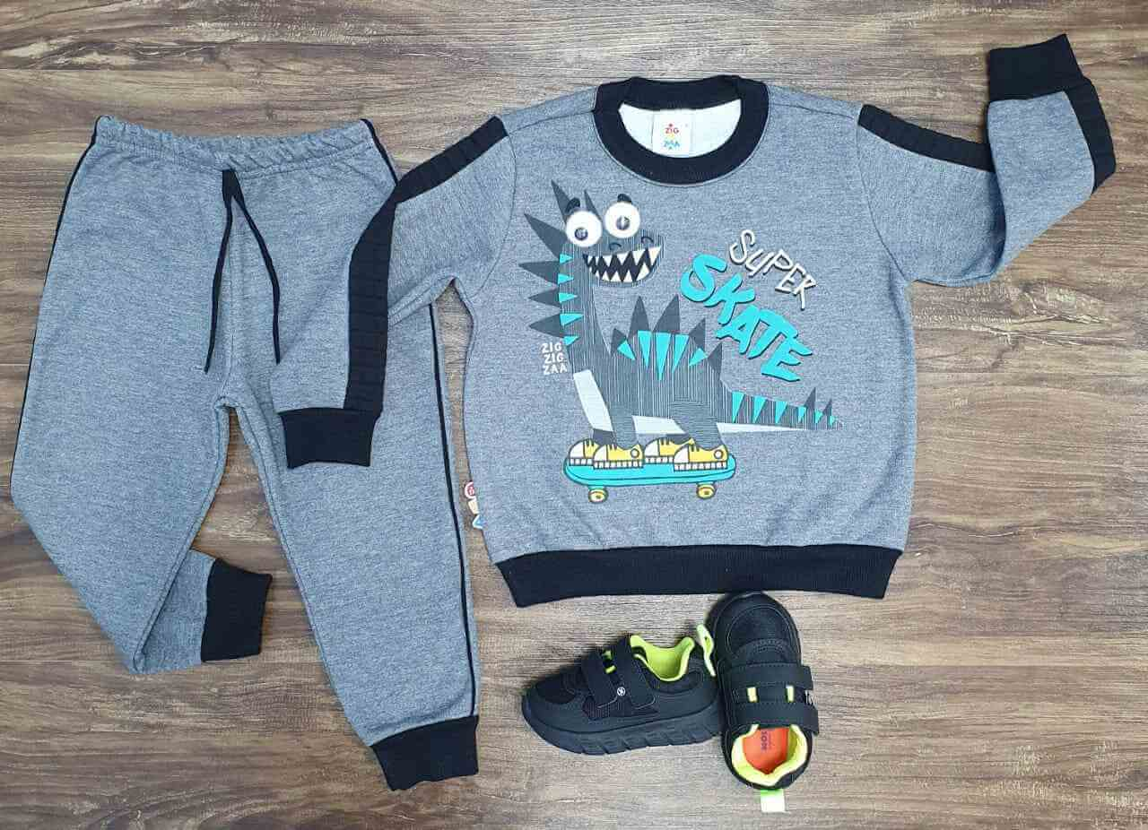 Conjunto Moletom Skater Dinosaur Cinza Infantil