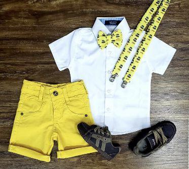 Conjunto Bita Básico Amarelo Infantil