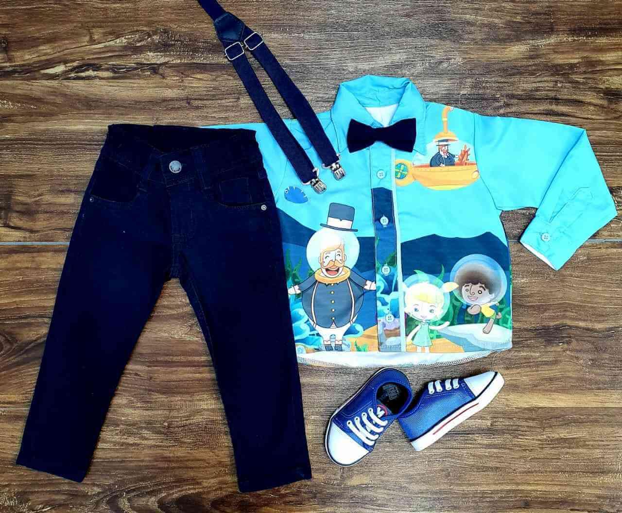 Conjunto Calça Azul Bita Fundo do Mar Infantil