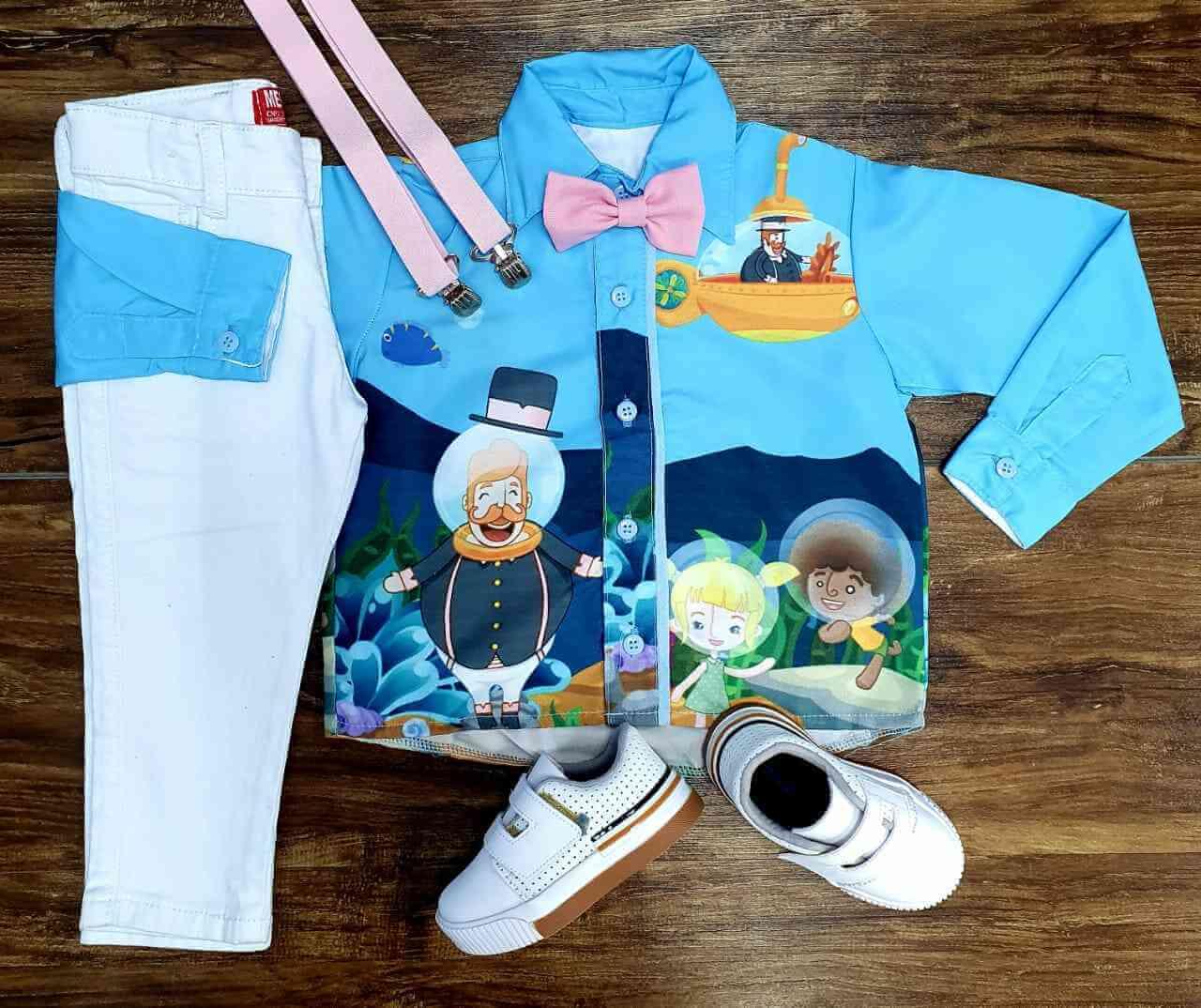 Conjunto Calça Branca Bita Fundo do Mar Infantil