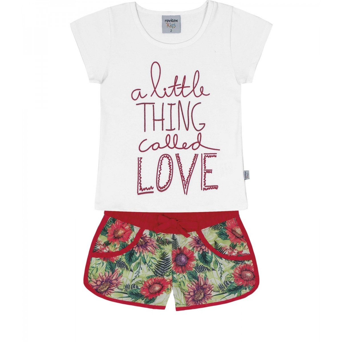 Conjunto Rovitex Blusa Com Shorts Little Love Branco