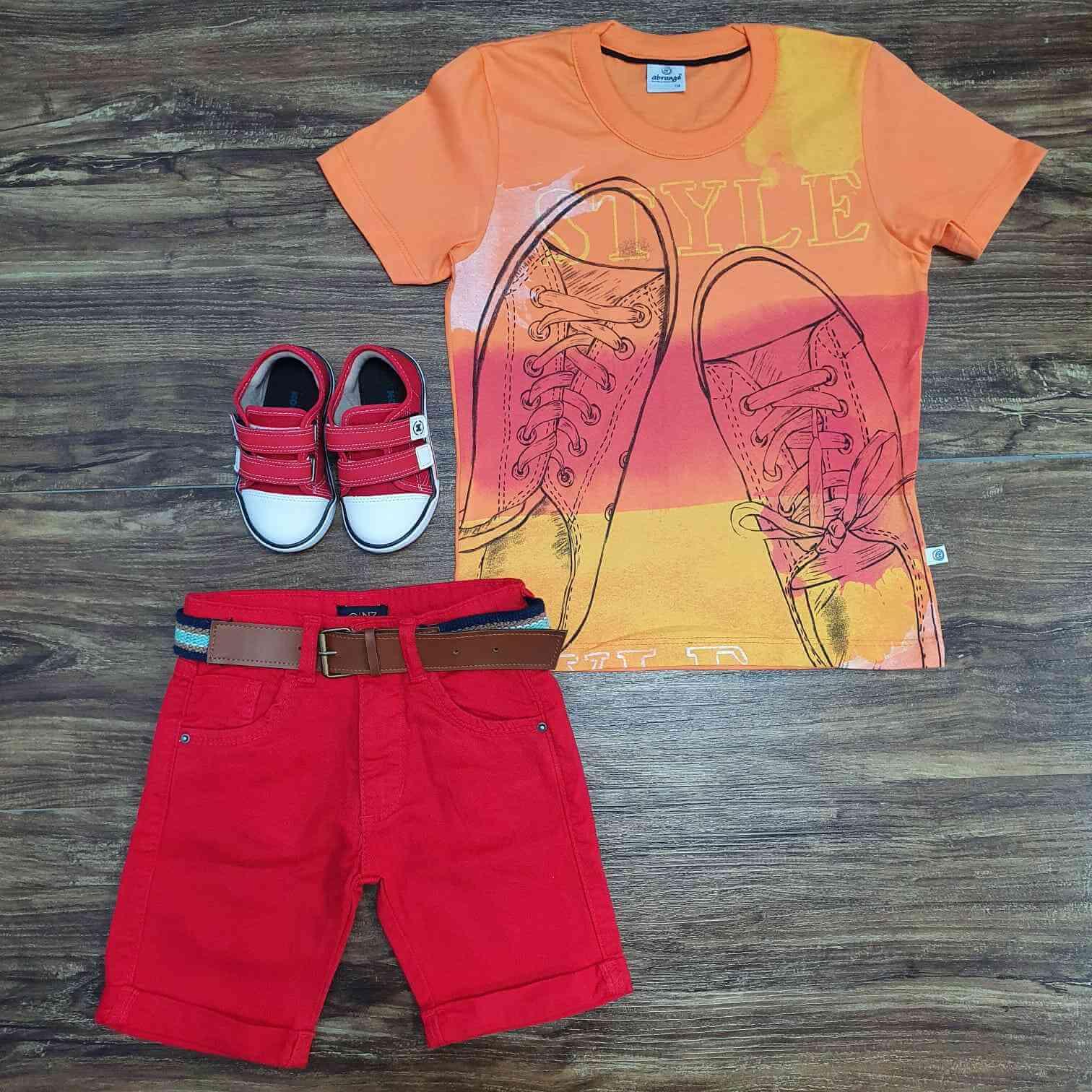Conjunto Style com Bermuda Vermelha Infantil