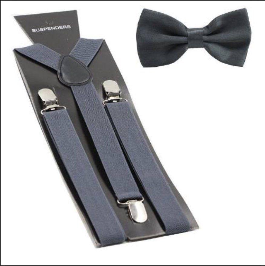 Suspensório e Gravata Borboleta Cinza Escuro