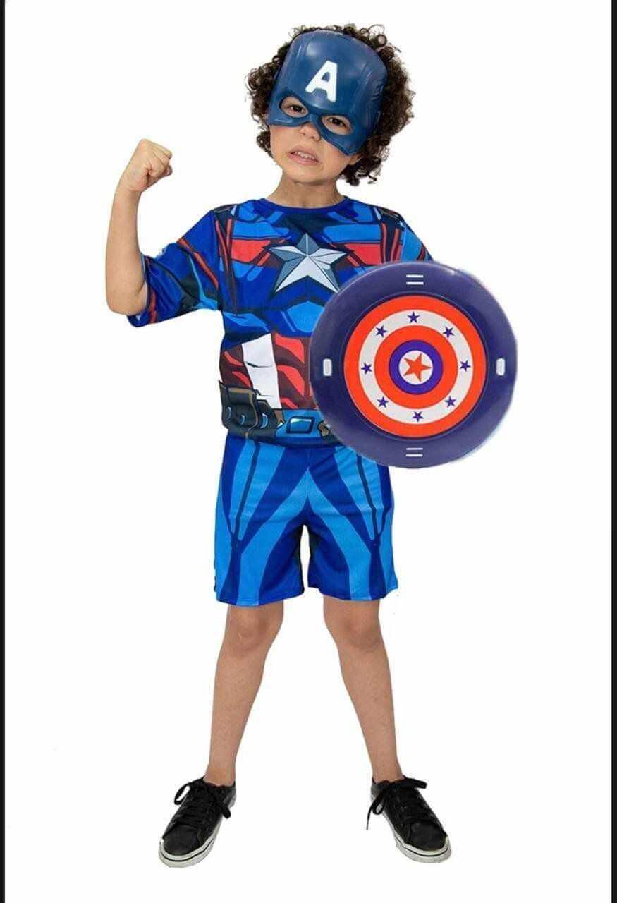 Fantasia Capitão América com Máscara e Escudo