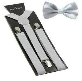 Suspensório e Gravata Borboleta Cinza Claro