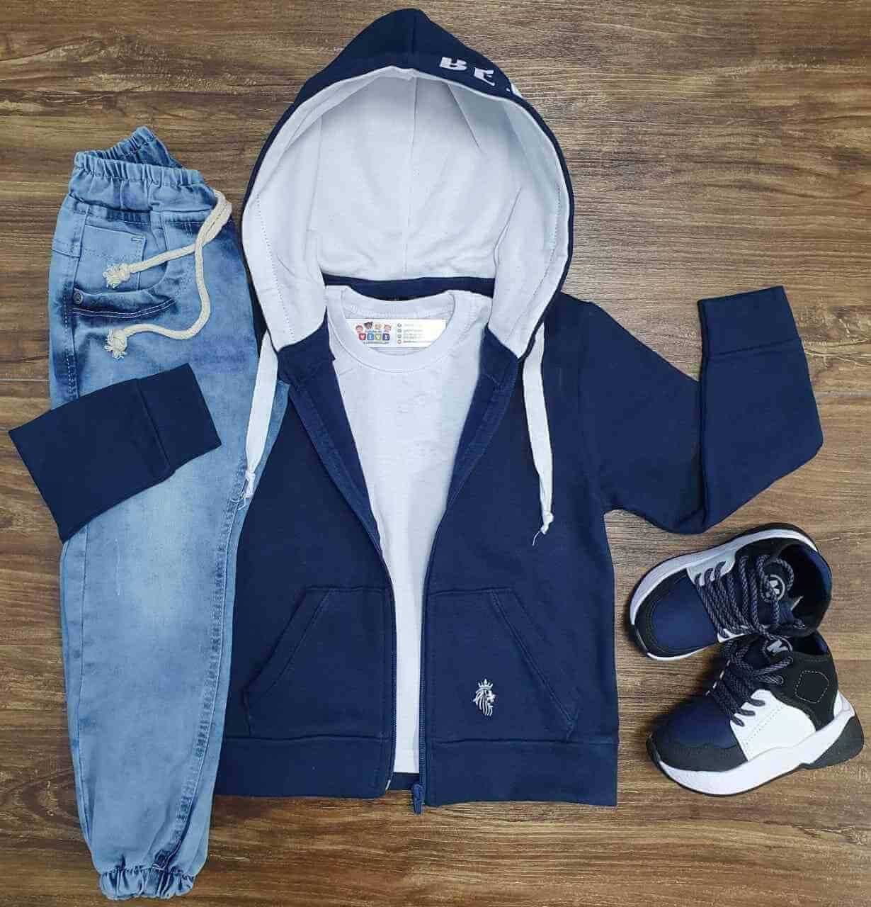 Jaqueta Azul com Camiseta Branca e Calça Jogger Infantil