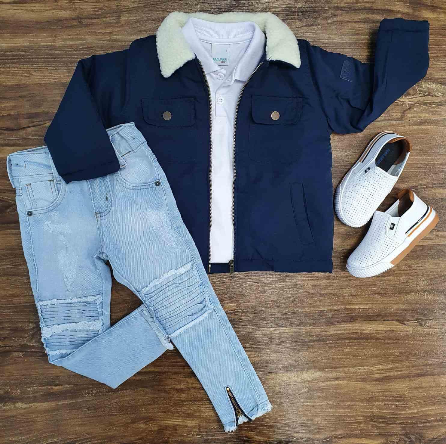 Jaqueta Azul com Polo e Calça Jeans Infantil