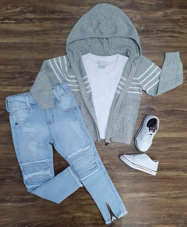 Jaqueta Cinza com Camiseta Branca e Calça Jeans Infantil