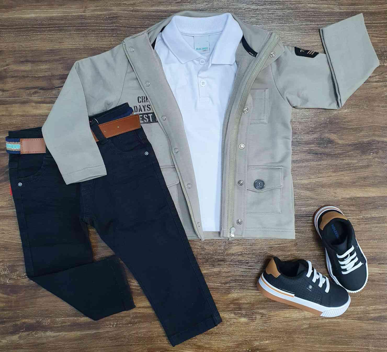 Jaqueta CRH Days com Polo Branca e Calça Jeans Preta Infantil