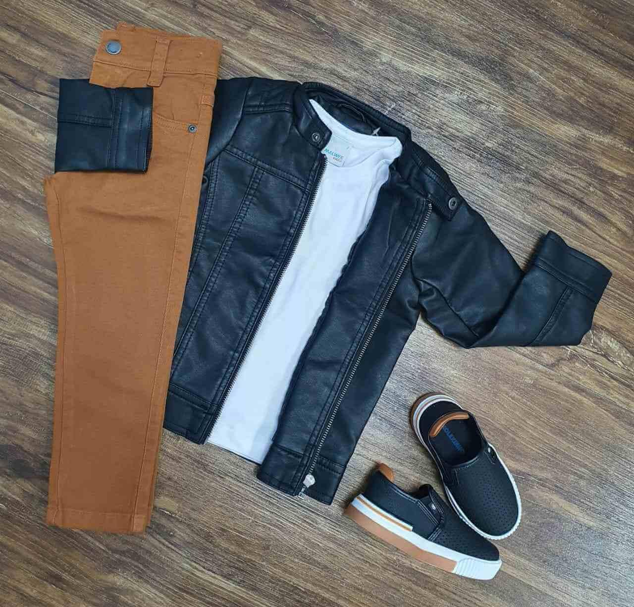 Jaqueta de Couro mais Camiseta com Calça Infantil