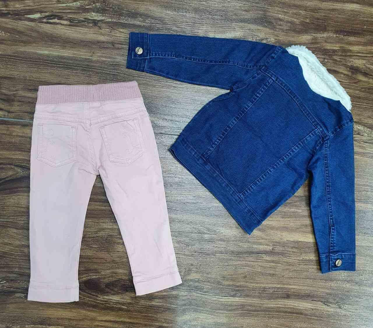 Jaqueta Jeans com Calça Jogger Rosa Infantil